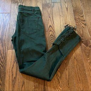 Zara green skinny jeans in size 4
